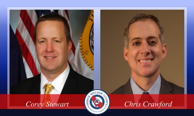 Corey Stewart and Chris Crawford, candidates for Board of County Supervisors Chairman, 2015